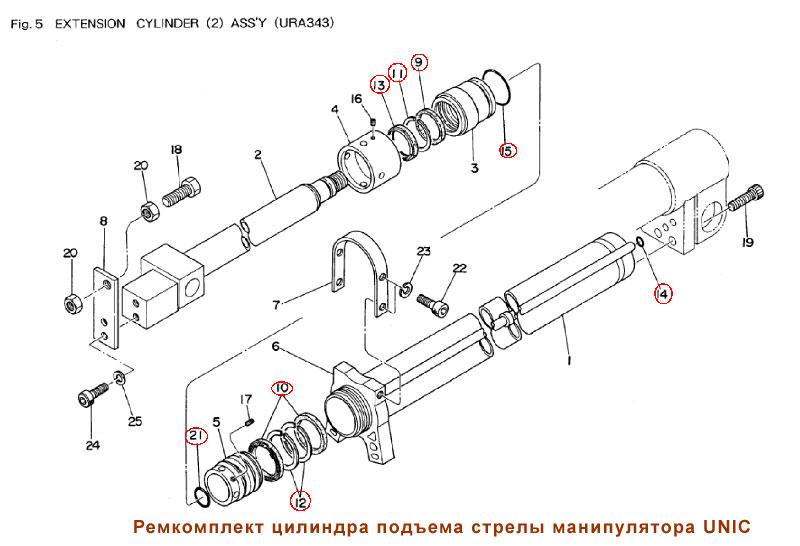 Ремкомплект цилиндра подъема
